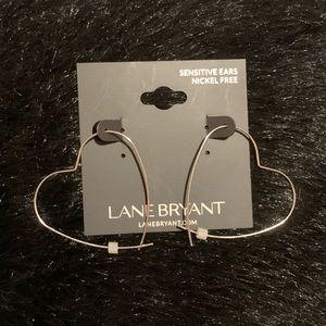 Heart shaped silver hoop earrings